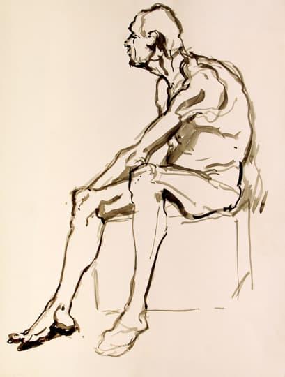 Sitzender männlicher Akt, 15 Min. Studie, 2012, Aquarell - Bild von Stefan Bönsch, https://stefanboensch.de