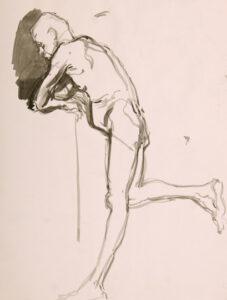 Stehender männlicher Akt, sich auf Arme stützend, 15 Min. Studie, 2012, Aquarell - Bild von Stefan Bönsch, https://stefanboensch.de