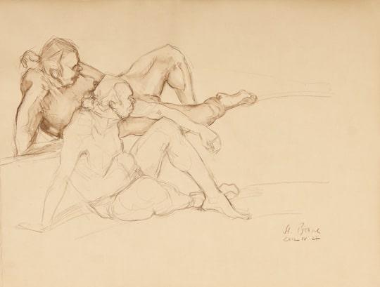 Sitzender männlicher Akt, zwei 15 min. Skizzen, 2012, Zeichnung - Bild von Stefan Bönsch, https://stefanboensch.de