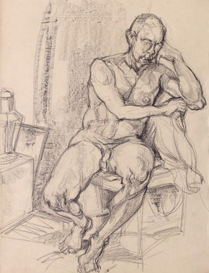 Sitzender männlicher Akt II, Frontsicht, 2011, Zeichnung - Bild von Stefan Bönsch, https://stefanboensch.de