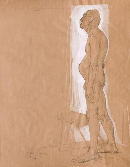 Stehender männlicher Akt I, Seitenansicht, 2011, Zeichnung - Bild von Stefan Bönsch, https://stefanboensch.de
