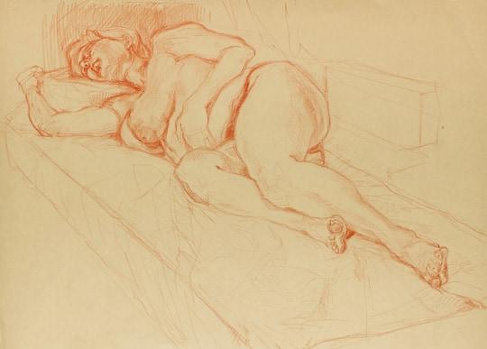 Liegender weiblicher Akt I, 2011, Zeichnung - Bild von Stefan Bönsch, https://stefanboensch.de