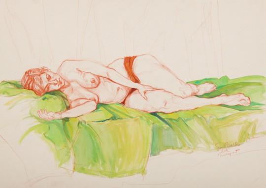 Liegender weiblicher Akt auf grünem Tuch, 2012, Zeichnung - Bild von Stefan Bönsch, https://stefanboensch.de