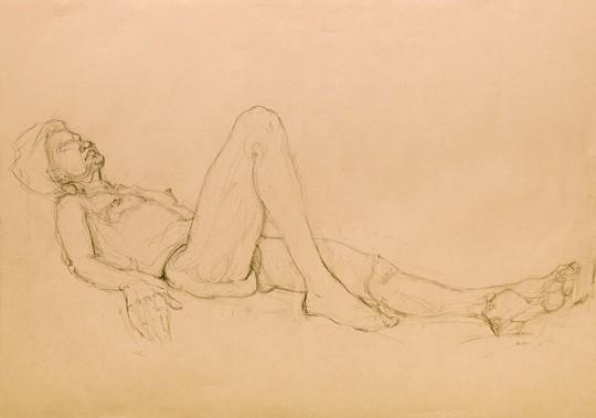Liegender weiblicher Akt mit angewinkeltem rechten Bein, 2011, Zeichnung - Bild von Stefan Bönsch, https://stefanboensch.de