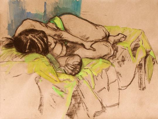 Liegender weiblicher Akt, stark verkürzte Perspektive, 2012, Zeichnung - Bild von Stefan Bönsch, https://stefanboensch.de