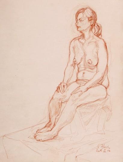 Sitzender weiblicher Akt III, 2011, Zeichnung - Bild von Stefan Bönsch, https://stefanboensch.de