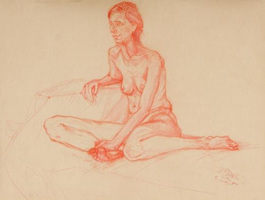 Sitzender weiblicher Akt, beide Beine angewinkelt, 2012, Zeichnung - Bild von Stefan Bönsch, https://stefanboensch.de