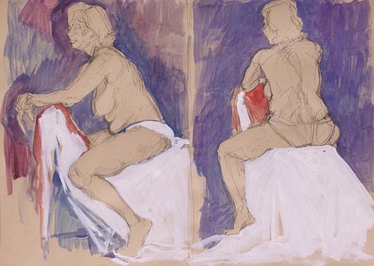 Sitzender weiblicher Akt II, 2012, Zeichnung - Bild von Stefan Bönsch, https://stefanboensch.de