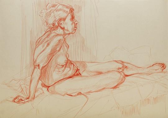 Weiblicher Akt, auf Arm gestützt, 2012, Zeichnung - Bild von Stefan Bönsch, https://stefanboensch.de
