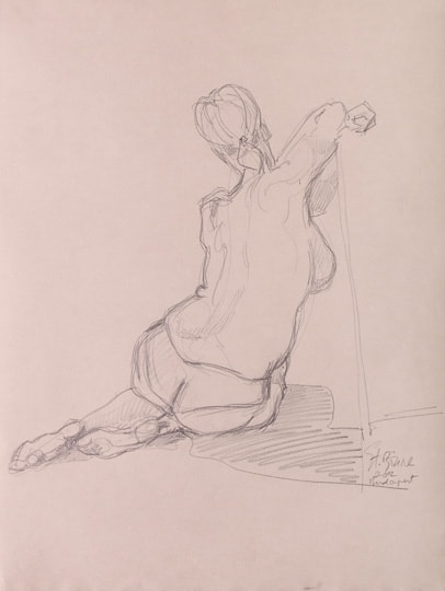 Sitzender weiblicher Akt, Rückenansicht, 15 Min. Skizze, 2012, Zeichnung - Bild von Stefan Bönsch, https://stefanboensch.de