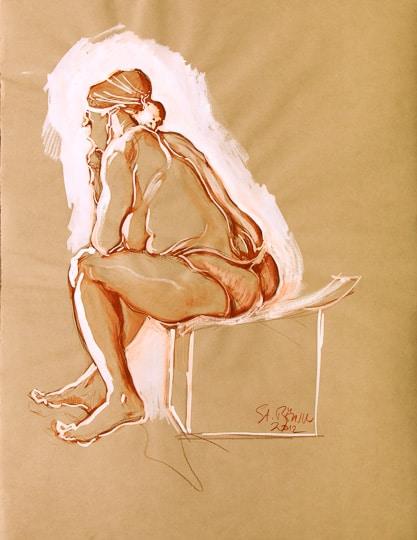 Sitzender weiblicher Akt, Seitenansicht, 15 Min.skizze, 2012, Zeichnung - Bild von Stefan Bönsch, https://stefanboensch.de