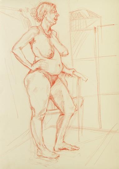 Stehender weiblicher Akt I, 2012, Zeichnung - Bild von Stefan Bönsch, https://stefanboensch.de