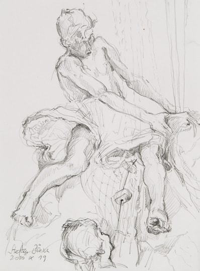 Brunnenfigur, 2010, Zeichnung - Bild von Stefan Bönsch, https://stefanboensch.de