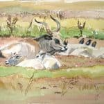 Graue Kühe mit Jungen - Ausstellung Apajpuszta / Ungarn 2010 - https://stefanboensch.de