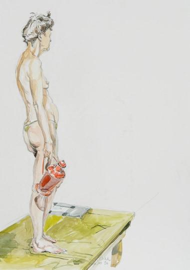 Weiblicher Halbakt mit Kanne, 2010, Bleistift / Aquarell - Bild von Stefan Bönsch, https://stefanboensch.de
