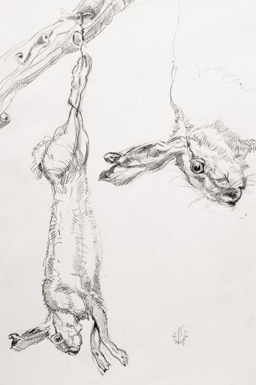 Stilleben mit erlegtem Hasen, 2008, Bleistiftzeichnung - Bild von Stefan Bönsch, https://stefanboensch.de