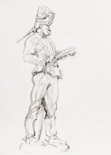 Ungarischer Husar, 2007, Bleistiftzeichnung - Bild von Stefan Bönsch, https://stefanboensch.de