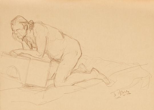 Männliches Modell auf Knien, Arme aufgestützt, 15. Min. Skizze, 2012, Zeichnung - Bild von Stefan Bönsch, https://stefanboensch.de