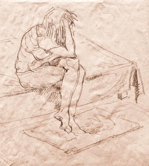 Modell in der Pause, 2011, Zeichnung - Bild von Stefan Bönsch, https://stefanboensch.de