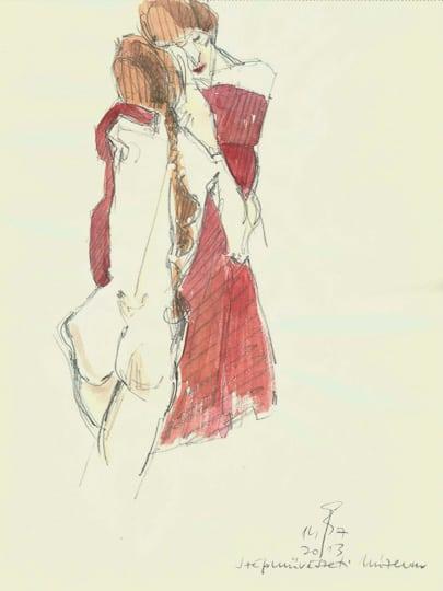 Mutter und Tochter, nach Egon Schiele, 2013, Zeichnung - Bild von Stefan Bönsch, https://stefanboensch.de