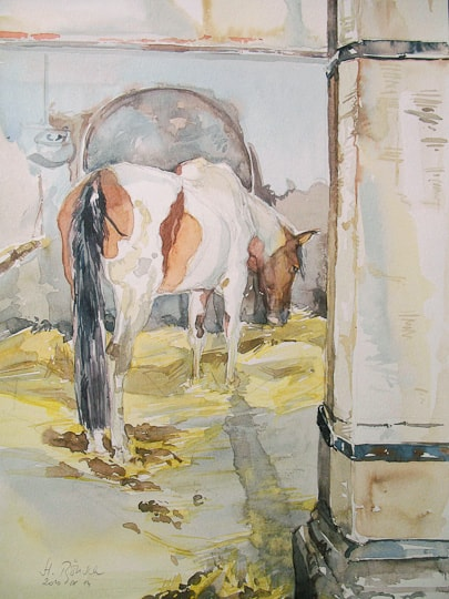Pferd im Stall II, 2010, Aquarell - Bild von Stefan Bönsch, https://stefanboensch.de