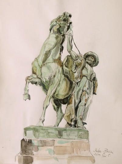 Der Pferdebändiger (Sicht von vorn), 2011, Zeichnung / Aquarell - Bild von Stefan Bönsch, https://stefanboensch.de