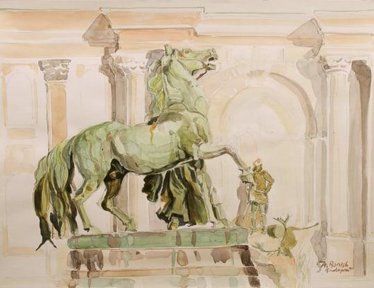 Der Pferdebändiger (Seitenansicht), 2011, Zeichnung / Aquarell - Bild von Stefan Bönsch, https://stefanboensch.de