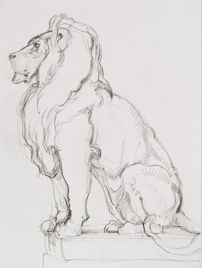 Löwenstatue, 2010, Zeichnung - Bild von Stefan Bönsch, https://stefanboensch.de