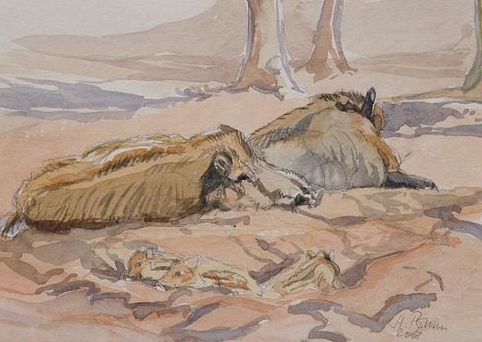 Wildschweine mit Frischlingen, 2008, Aquarell - Bild von Stefan Bönsch, https://stefanboensch.de