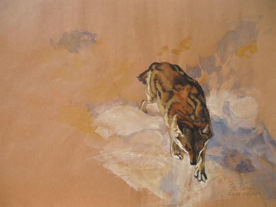 Wolf in seiner Spur, 2013, Zeichnung - Bild von Stefan Bönsch, https://stefanboensch.de