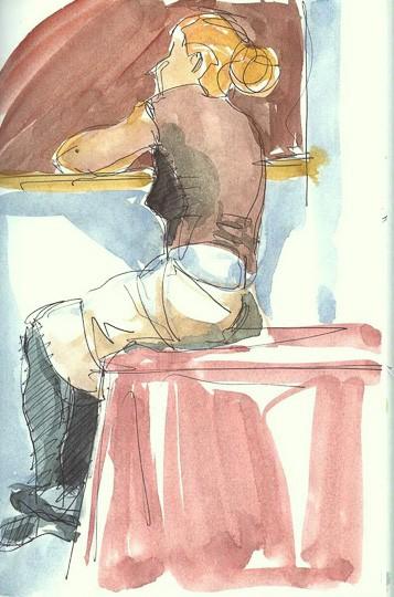 Junge Zuhörerin, 2009, Zeichnung - Bild von Stefan Bönsch, https://stefanboensch.de